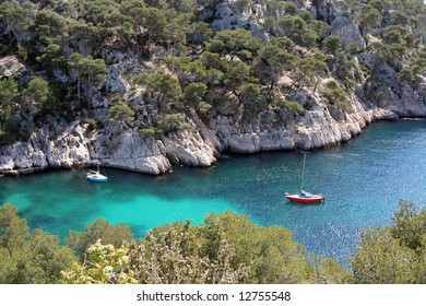 two sailing yachts in the calanques de cassis, near marseille, france