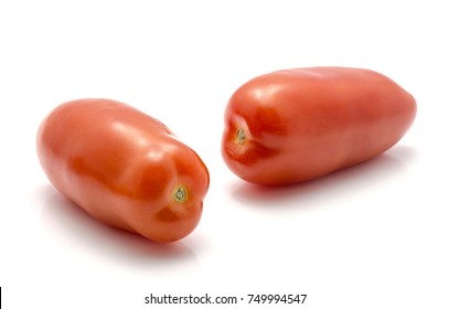 Two San Marzano tomato isolated on white background whole red