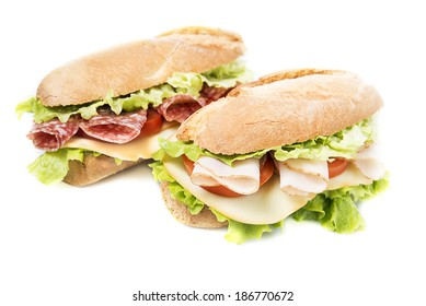 Two sandwiches on a white background