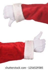 Two Santa Claus hands making thumbs up and thumbs down gesture isolated over white. Hand and arm only.