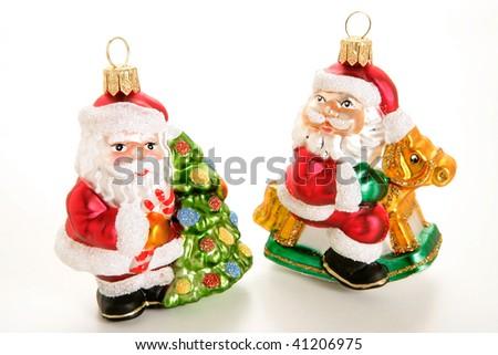 Two Santas Christmas Decoration On White Background