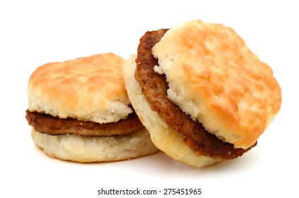 two sausage biscuits isolated on white