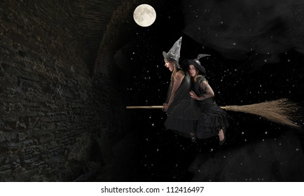 two scared witches flying on a broom. Black background with moon and stars
