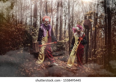 Two scary clowns with hammers in the forest.