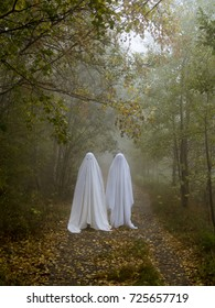 Two scary ghosts in the woods