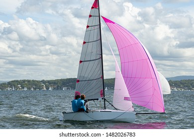 Two school kids sailing small sailboat with a fully deployed vibrant pink spinnaker for fun and in competition. Teamwork by junior sailors racing on saltwater Lake Macquarie. Photo for commercial use.