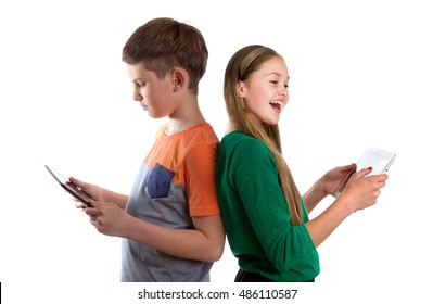 Two school-children with tablet-PC