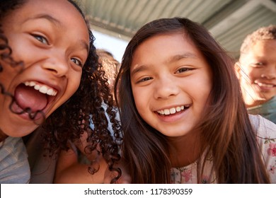 Two schoolgirls and friends smiling to camera, close up