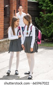 Two schoolgirls talking while going to school from home