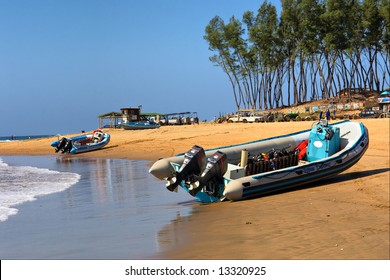 Two scuba-diver motorboats on beach. Shot in Sodwana Bay, KwaZulu-Natal province, Southern Mozambique area, South Africa.