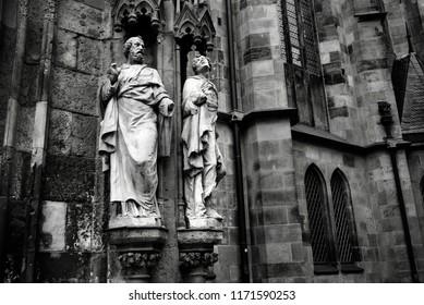 two sculptures in vintage view in Leipzig in Germany