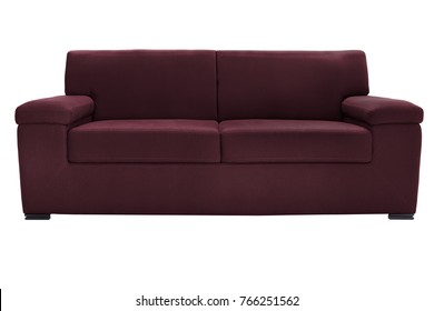 Two seats cozy blue sofa isolated on white
