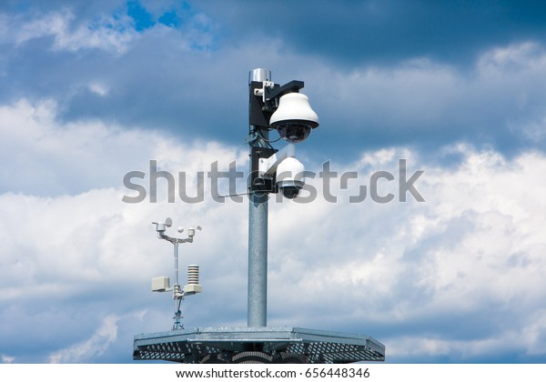 two security cameras for the safety of citizens and meteo station