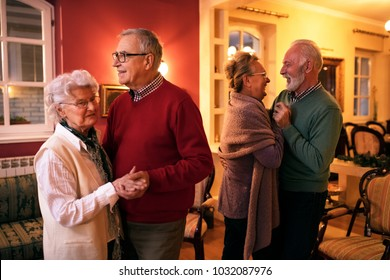 Two senior couple dancing romatic at nursing home, senior party at home