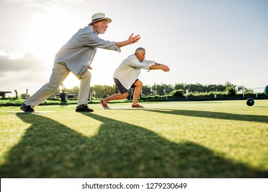Two senior men throwing boules in a park with their shadows falling on the ground. Elderly men enjoying a game of boules in a lawn on a sunny day.