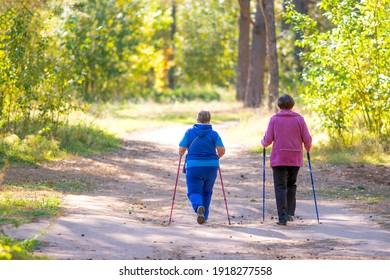Two senior women are doing scandinavian walk.