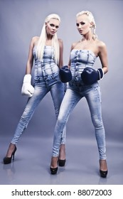 Two sexy female boxer