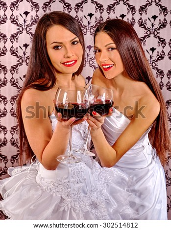 Two Sexy Lesbian Women Drinking Red Wine Wallpaper Background
