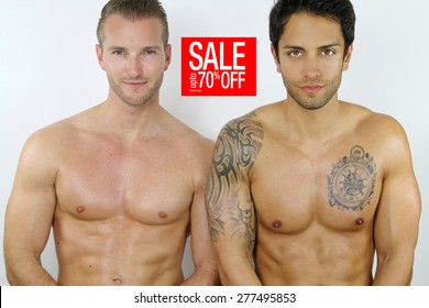 two sexy men on sale on a white background