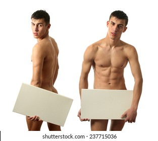 Two sexy nude men covering with copy space blank signs isolated on white