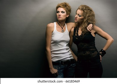 Two sexy women on gray background