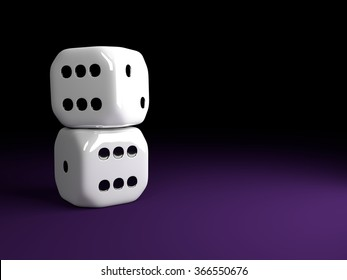 two shiny dice lying over violet table with place for text