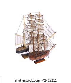 Two ships figurine on white isolated