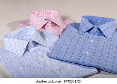 Two shirts folded and pressed. Business wear. Men dress shirts. Men Cloth.