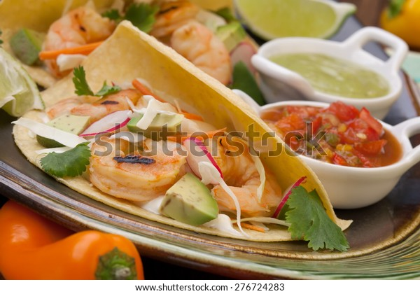 Two Shrimp Tacos Salsa Guacamole Beer Stock Photo Edit Now 276724283