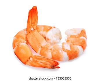 two shrimps isolated on white background