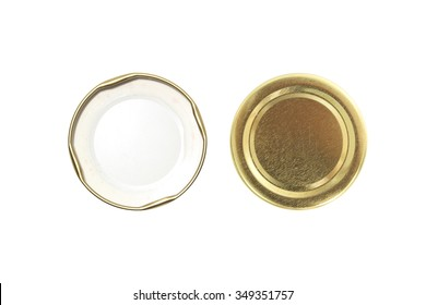 two side lid of jar isolated on white