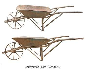 Two side views of an old, rusty wheelbarrow isolated. Clipping paths are included.