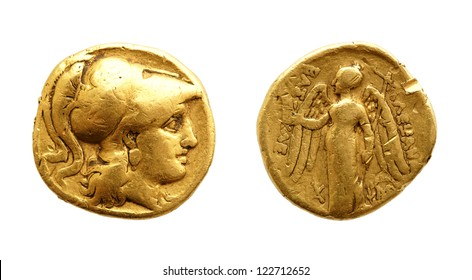 The two sides of an ancient greek gold coin, Alexander the Great, isolated on white.