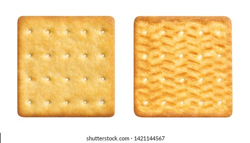 Two sides of a delicious square cracker, isolated on white background