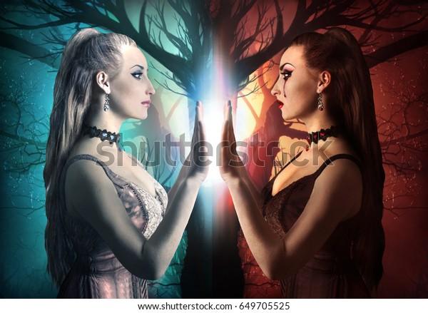 Две стороны человека. Злые и добрые стороны женщины фото.