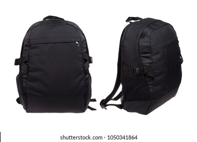 two sides of modern black backpack, isolated on white