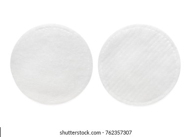 Two sides of round cotton cosmetic pad. Isolated on white, clipping path included