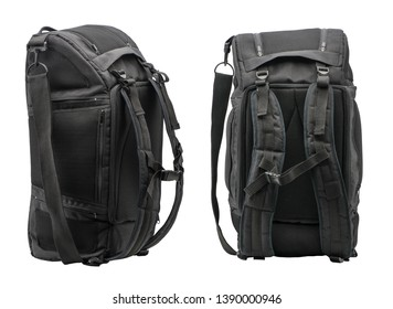 two sides of a sports backpack on a white background