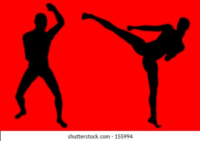 Two silhouette fighters in martial arts poses on a red background.