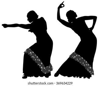 Two silhouettes of female flamenco dancer