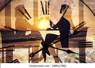 two silhouettes of girls at the table in the cafe sitting on the background of the dial and the sea (double exposure )