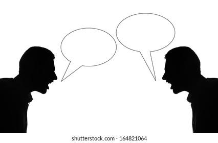 Two silhuette man quarrel each othet, bubble text