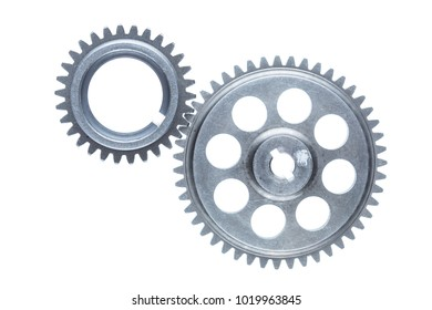 Two silver cog wheels are linked together over a plain white background.