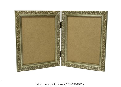 two silver frames in vintage style isolated on white background