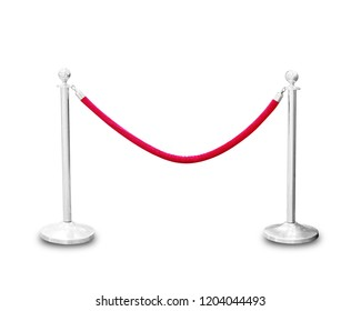 Two silver pole with red rope barrier isolated on white background, This has clipping path.
