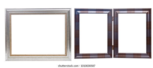 Two simple wooden picture frames isolated on white