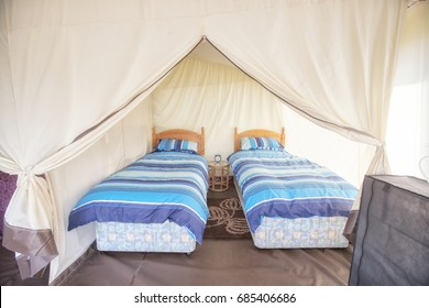 Two single beds in a glamping tent in Pembrokeshire, Wales, Britain, United Kingdom.  The luxurious way to camp.