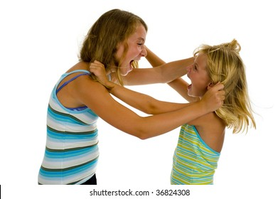 two sister girls having an argue, isolated on white