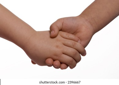 Two sister holding hands on a white background