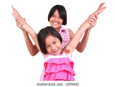 Two sisters having a good time.